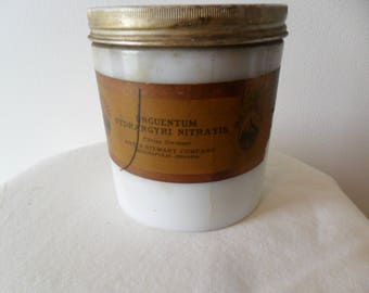 Old Milk Glass Apothecary Jar~Ointment Jar~Metal Lid~Indianapolis, IN~Keifer Stewart Co
