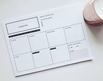 Weekly Landscape Planner Printable Student Organiser A4