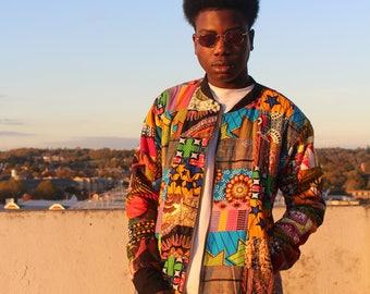 African Winter Coat - African Jacket - Patchwork Bomber - Winter Bomber - Bomber Jacket - African Clothing - Festival Coat - Wool Coat