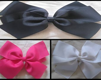 "Handmade Hair Bows 2"" Wide Grosgrain Ribbon. Pink, White, Black"