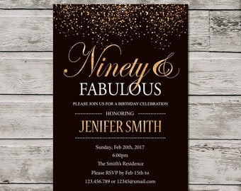 Gold 90th Birthday Invitation For Women, PRINTABLE Ninety And Fabulous Birthday Invite, Golden 90th invite. Ninety Invitation- GOLD glitter