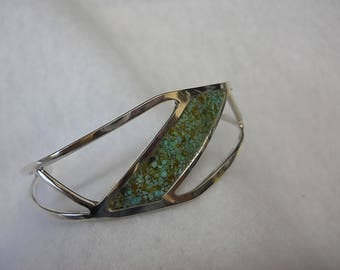 Turquoise Inlay Cuff Bracelet Set In Sterling Silver