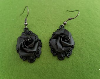 Gothic Black earring, black rose earrings, Gothic rose, Gothic earring, black rose, Victorian Gothic earrings, Victorian Gothic jewellery,