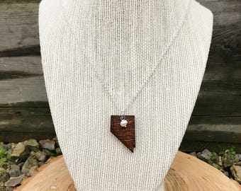 Nevada, Nevada State Necklace, Wooden State Necklace, Nevada Jewelry,  Personalized Gift, Going Away Gift
