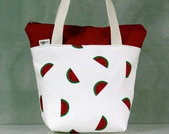 20% OFF [ Orig. 19.99 ]  Watermelon Lunch bag, Waterproof tote, Canvas Lunch bag, Reusable Lunch bag, Handmade bag, Tote, Gift