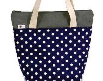 20% Off [ Orig. 19.99 ] Polka dot Lunch bag, Canvas Lunch bag, Reusable Lunch bag, Insulated lunch tote, lunch box, Tote, Gift
