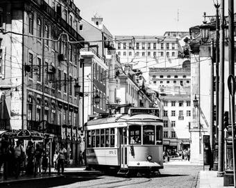 Lisbon Black and White Photography - Lisbon Trams - Lisbon Art - Lisbon Wall Art  - Fine Art Photography  - Lisbon BW - 0114