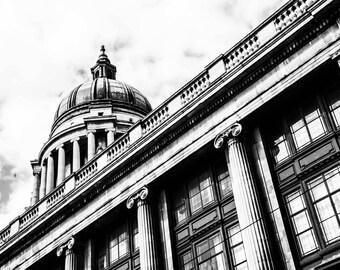 Nottingham Photography - Council Building - Architecture - Nottingham Print  - Black and White Photography - Council Landscape BW - 0122