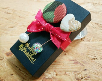 Kimono Brooch Pins with Pearl and Glass Bubble (Set of Two) | Gift for her | Holiday Gifts