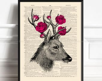 Deer Poster, Cute Boyfriend Gift, Deer Wall Hanging, Sister Poster Gift, Deer With Roses, 7th Year Anniversary, Dictionary Poster, Wall  375