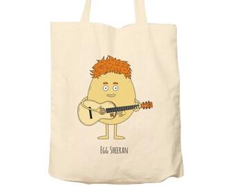 Tote Bag Egg Sheeran, Food Puns, Cotton Food Bag, Bag For Life, Tote Bag Funny, Illustrated Tote