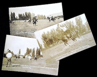 3 Antique Rodeo Postcards RPPC  c. 1920 Weiser Idaho Round-Up Ed Moody Tommy Douglas Tex Smith