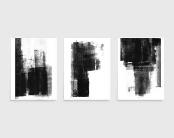 Black and White Wall Art, Set of 3 Prints, Abstract Painting, Abstract Wall Art Prints, Abstract Art Set, Minimalist Prints, Framed Art