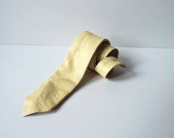 Vintage Cream Color Leather Skinny Tie, Cream Leather Necktie, 1980s