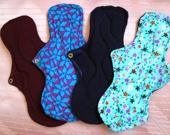 4 Overnight cloth pads~ 11 inches washable pads~ breathable~ natural~ reusable 28 cm cotton pads~ Extra long and thick pads, for HEAVY flow