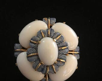 SALE Vintage Cadoro Brooch / White Lucite and Blue Enemal Cadoro Pin