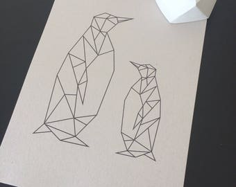 A4 Geometric Penguin Print