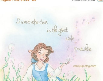 ON SALE Princess Belle print, Beauty and the Beast, Belle print