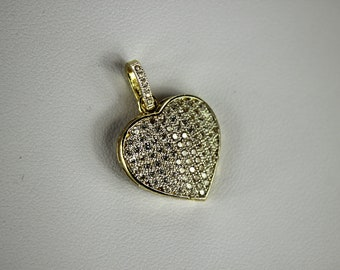 10K Yellow Gold Heart Pendant Charm with CZ 3 sizes