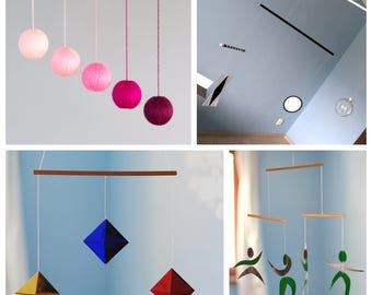Set of 4 Montessori inspired mobiles. Glass Munari, Gobbi, Octahedron and Dancer Mobile.