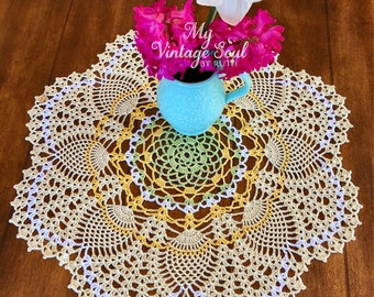 Yellow Lace Doily - Farmhouse Decor - Pineapple Doily - Housewarming Gift - Coffee Table Doily - Rustic Table Decor - Anniversary Gift