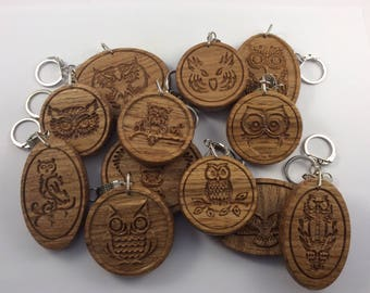 OWL Wooden Oak Keyring (12 styles available) Keyring Fob Keychain *Can be PERSONALISED*