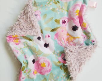 Watercolor Floral Lovey, Minky Lovey, Baby Girl Blanket, Floral Baby Blanket, Minky Girl Blanket, Modern Baby Blanket, Watercolor Floral