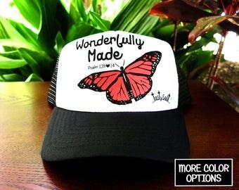 Wonderfully Made Monarch Butterfly Trucker Hat  /  Christian hat, Christian apparel, women's hat, women's trucker hat, Christian trucker hat