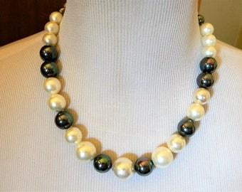 "Vintage Chunky Hematite Faux Pearl Choker Necklace 20.5"", Hematite Beads, Statement Necklace, Beaded Necklace, Retro Costume Jewelry"