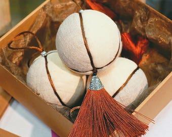 Handmade Natural linen fringe Christmas Tree Ornaments Set of 4 - Christmas tree ornaments