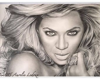 "pencil portrait graphite ""Beyoncé Knowles"""