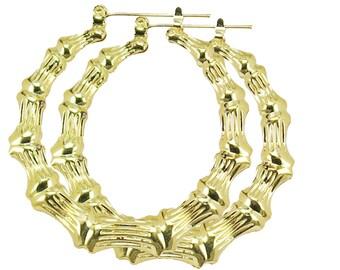 18K GP Gold Bamboo Earrings   Hoop Earrings   1.9 inches