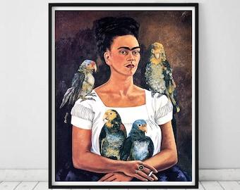 Frida Kahlo Self Portrait • Frida Kahlo Parrots Frida Kahlo Me And My Parrots Frida Kahlo print Frida Kahlo art Frida Kahlo poster Frida art