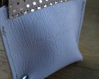 Wallet leather closure Click - Clack, leather grained clay and rose blush with gold dots, size S