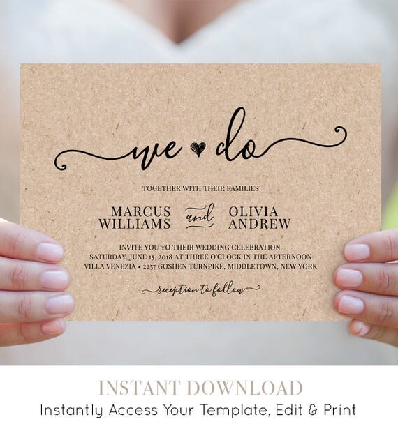 We Do Wedding Invitation Template Printable Heart Wedding