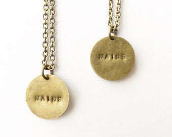 Distressed Stamped Maine Necklace - Ready to ship!