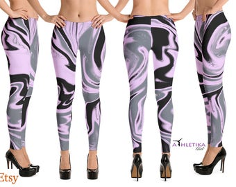 Liquid Marble Pink Black Gray Print Yoga Leggings Pants High Waist Hi Rise Capri Tights Dance Wear  Workout Gym Fitness Clothing Woman Girl