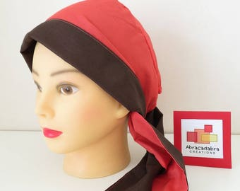 CHEMO HAT HAS TIE REVERSIBLE CORAL/CHOCOLATE