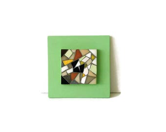 Small painting mosaic black and white jade green