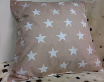 Light Brown Whit Stars Pillow Cover