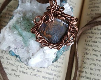 Boho Gypsy Jewelry // Gift for her // Handmade jewelry gift //Polished Scenic Agate in quartz Antique Copper Wire Pendant Necklace
