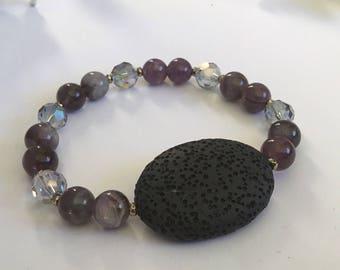 Lava & Amethyst Diffuser Bracelet
