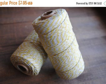 60% OFF Yellow & White Bakers Twine 100yds of 12Ply gift wrap | twine | crafters twine | birthday | bachelorette | wedding favor bags | stri