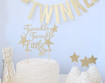 Twinkle twinkle Little Star Baby Shower, Cake Topper, Cupcake Toppers, Banner, Straws, Party Decor, First Birthday Supplies