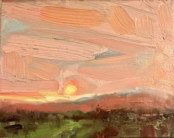 Harris Ranch Sunset 8X10 Original Pleinair Air Painting