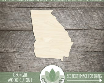 Georgia Wood Shape, Unfinished Wood Georgia Laser Cut Shape, DIY Craft Supply, Many Size Options