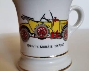 Vintage Mustache Mug- 1913/14 Morris Oxford Classic Car- Gold Trim