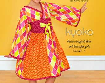 "MODKID       ""Kyoko"" Shirt and Dress Pattern    Size 2T-7       New"