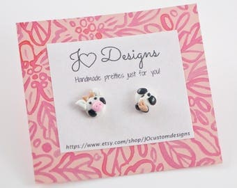 Cow Studs, Cow Earrings, Cow Jewelry, Cow Gift, Animal Studs, Animal Jewelry, Animal Gift, Farm Studs, Farm Jewelry, Farm Earrings