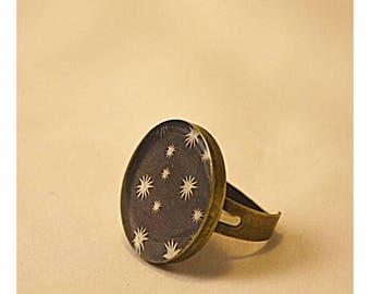 Adjustable Ring Black White